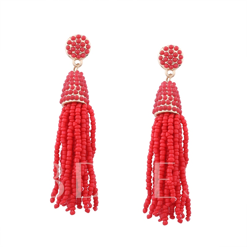 Colorful Seed Beads Rosary Alloy Tassel Earrings