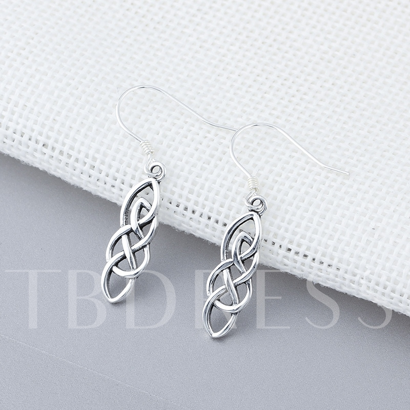 Simple Smooth Sterling Silver Hollow Out Earrings