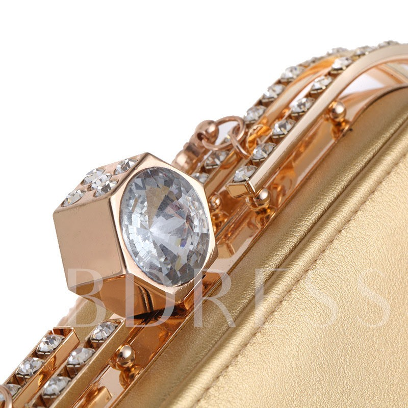 Graceful Rhinestone Adornment Evening Clutch