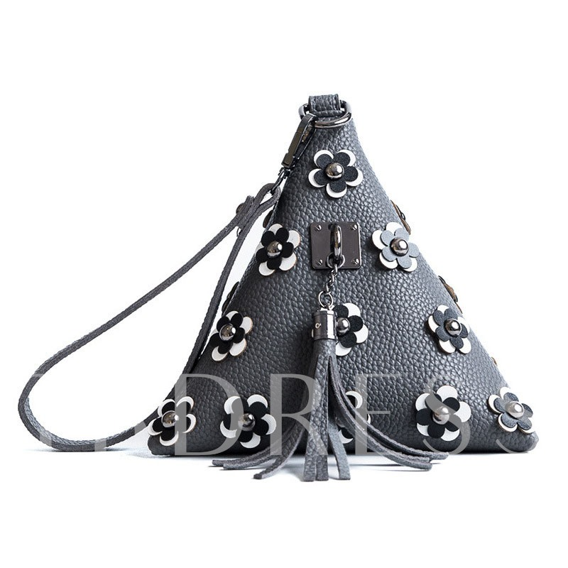 Triangle Rivet Tassel Decoration Cross Body Bag