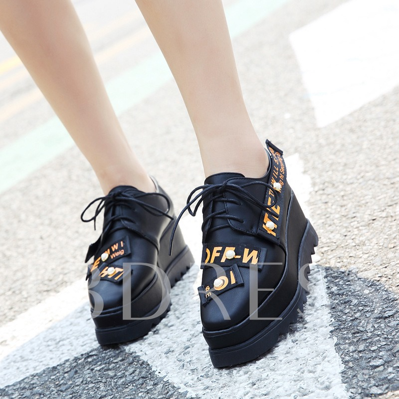 Buy Letter Square Toe Lace-Up Women's Platform Shoes, Spring,Summer,Fall, 12962584 for $34.99 in TBDress store