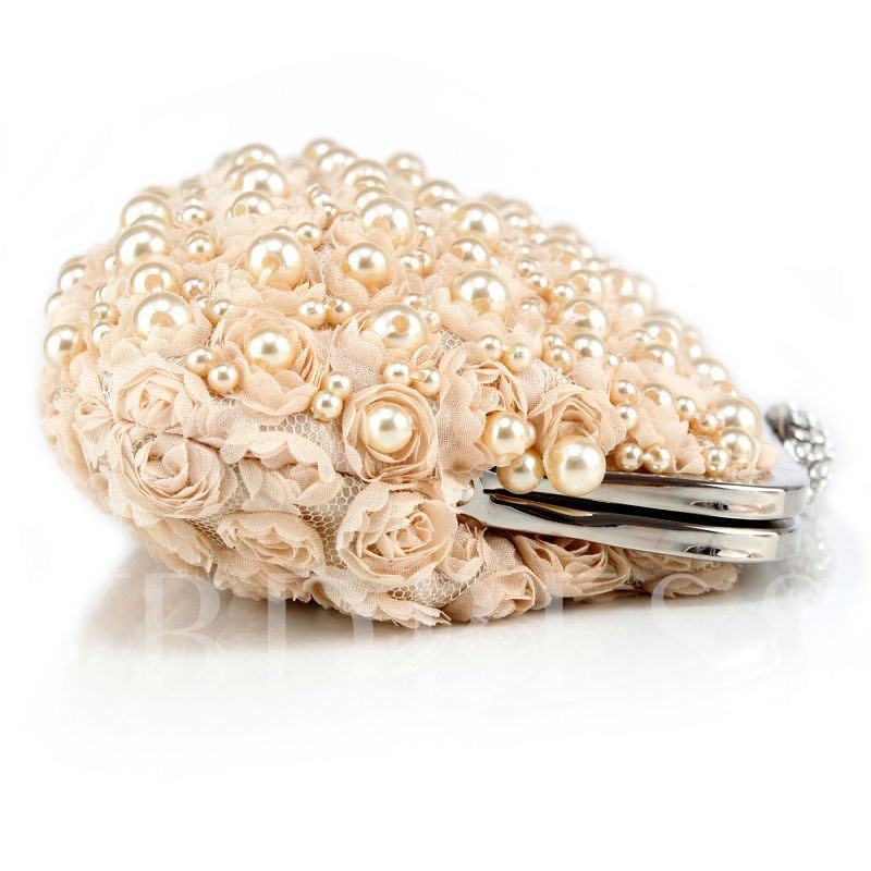 Floral Pearl Decoration Evening Clutch
