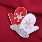 Gloves Snowflake Diamante Lovely Christmas Women's Brooches