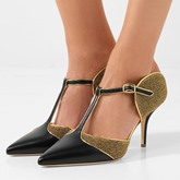 T-Shaped Buckle Patchwork Dress Shoes High Heel Pumps(Plus Size Available)