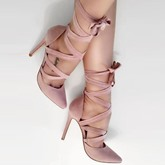 Pink Lace-Up Shoes Plain High Heel Dress Shoes(Plus Size Available)