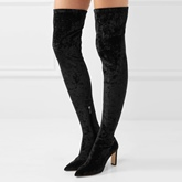 Suede Black Shoes Side Zipper Chunky Heel Tight High Boots for Women