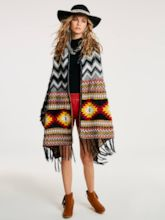 Color Block Geometric Pattern Women's Cape