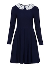 Ruffled Dark Blue Lapel Women's Day Dress