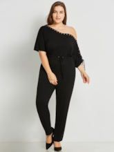 Plain Backless Lace-Up Plus Size Women's Jumpsuit
