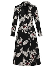 Notched Lapel Floral Women's Overcoat
