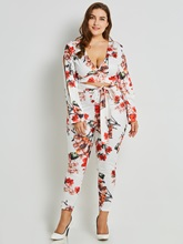 Bow Tie Floral Print Crop Top with Pants Women's Two Piece Set