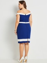 Blue Invisible Zipper Plus Size Women's Bodycon Dress