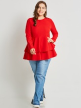 Plain Falbala Hemline Plus Size Women's Blouse