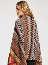 Geometric Pattern Tassel Patchwork Women's Cape