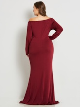 Open Shoulder Mermaid Plus Size Long Sleeve Women's Maxi Dress