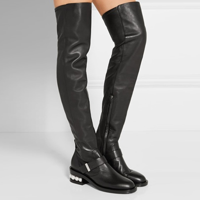 Black Leather Shoes Block Heel Pearl Sequins Knee High Boots for Women
