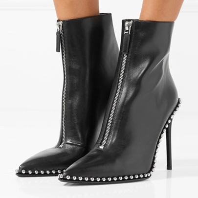 High Heel Front Zipper Beads Leather Ankle Boots for Women