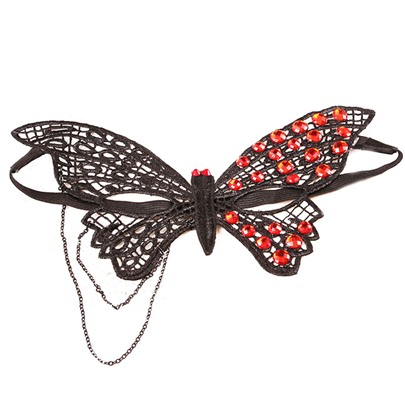 Butterfly Shaped Lace Resin Gothic Stone Masquerade Chain Halloween Mask