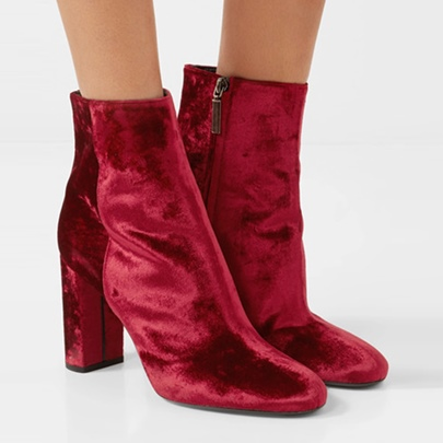 Red Suede Ankle Boots Short Floss Chunky Heel Zipper Snow Shoes