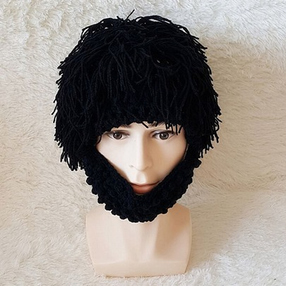 Handmade Woven Wool Wig Funny Halloween Hats