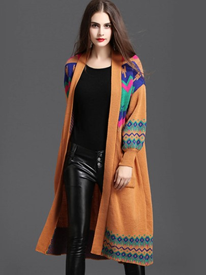 Long Lantern Sleeve Ethnic Print Women's Cardigan