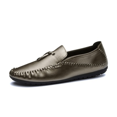 Pleated Thread Slip On Men's Fashion Loafers Plain Shoes