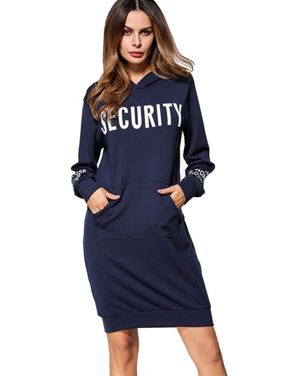 Blue Letters Printed Women's Hooded Dress