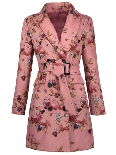 Shawl Collar Floral Belt Women's Overcoat