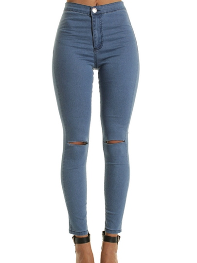 Skinny High-Waist Hole Patchwork Women's Jeans