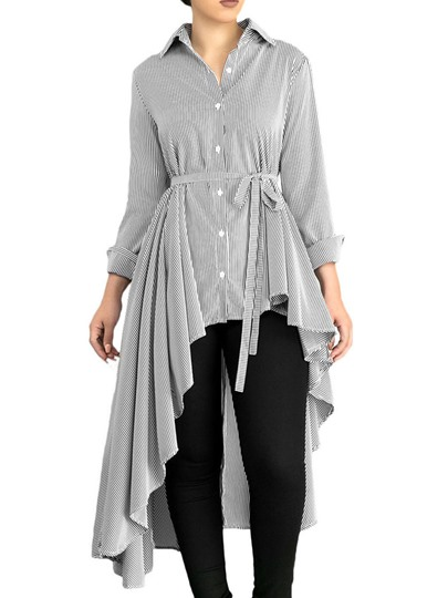 Asymmetric Stripe Hemline Belt Women's Shirt