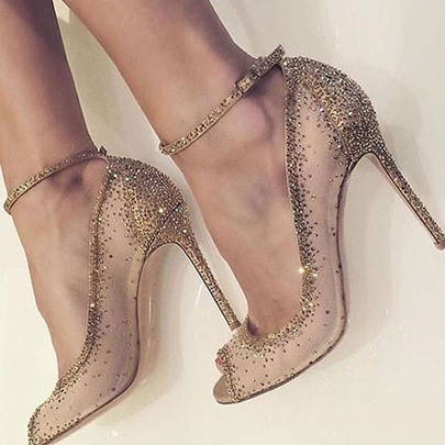 Golden Dress Shoes Rhinestone Rivet High Heels