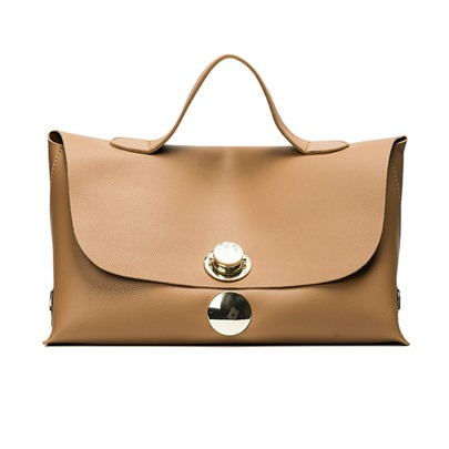 Concise Solid Color Metal Lock Adornment Tote