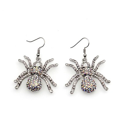 Diamante Alloy Gothic Punk Halloween Spider Earrings