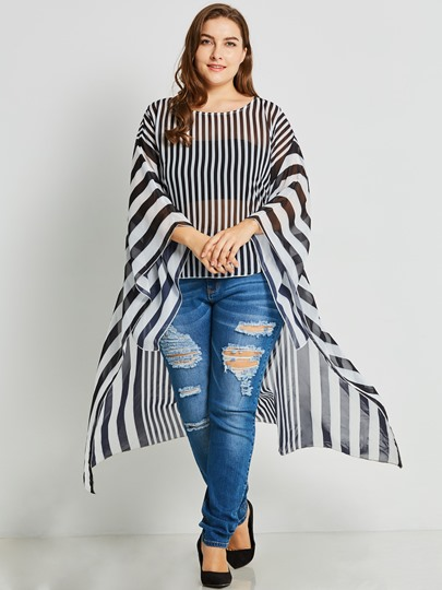 Stripe Batwing Sleeve Plus Size Women's Blouse
