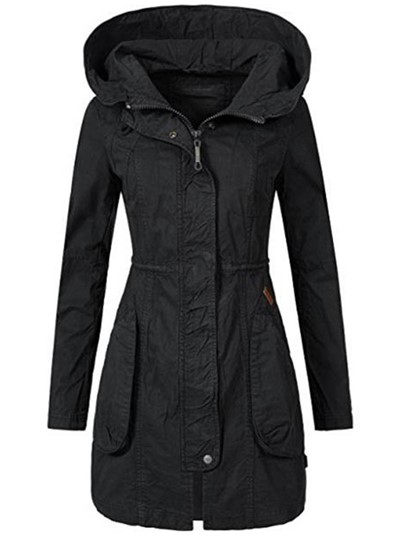 Mid-Length Hooded Plain Zipper Slim Women's Overcoat