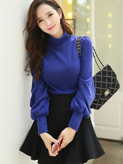 Turtle Neck Long Sleeve Plain Women's T-Shirt