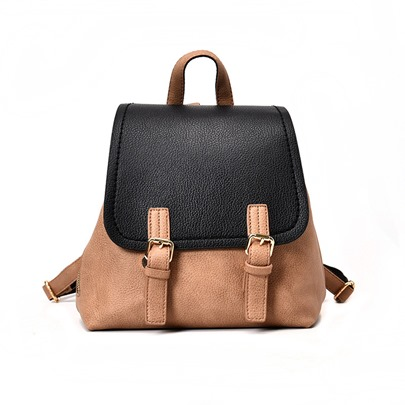 Stylish Color Block Soft PU Backpack