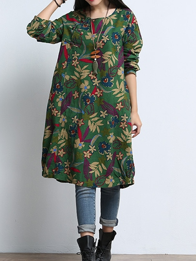 Floral Pockets Women's Day Dress