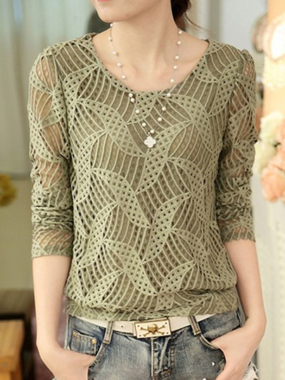 Round Neck Long Sleeve Lace Hollow Women's Blouse