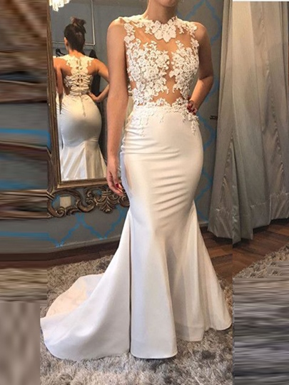 Mermaid Appliques Button Jewel Sweep Train Evening Dress