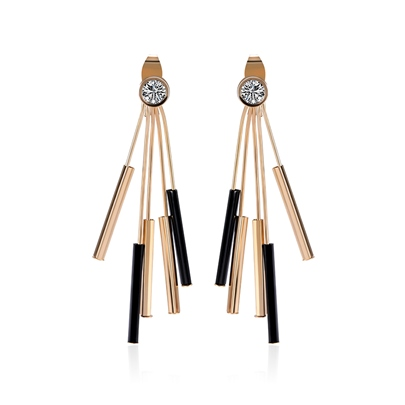Zircon Inlaid Alloy Elegant Tassel Earrings