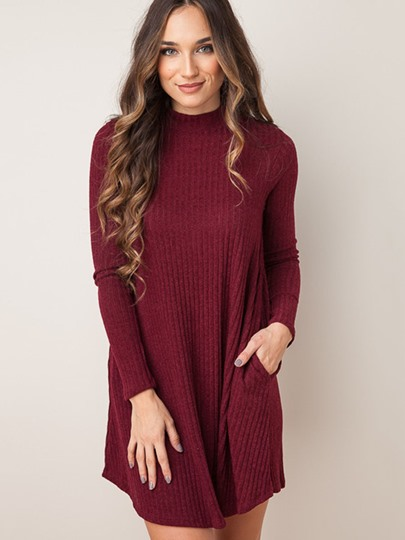 Pockets Straight Women's Sweater Dress