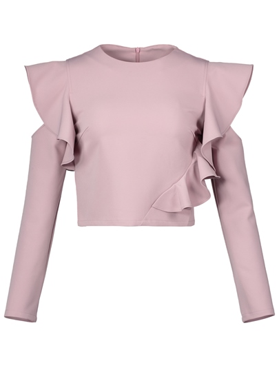 Falbala Hollow Ruffle Sleeve Women's Blouse