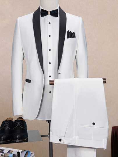 Notched Collar One Button Patchwork Slim Fit Men' Dress Suit