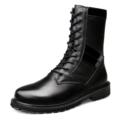 Men's Black Martin Boots Mid Calf Plain Shoes