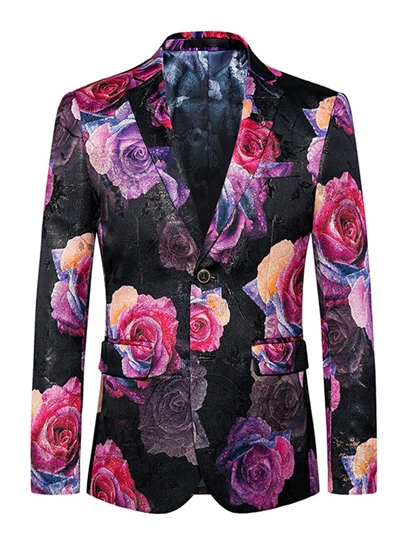 Notched Collar Flower Printed One Button Slim Vogue Men's Blazer