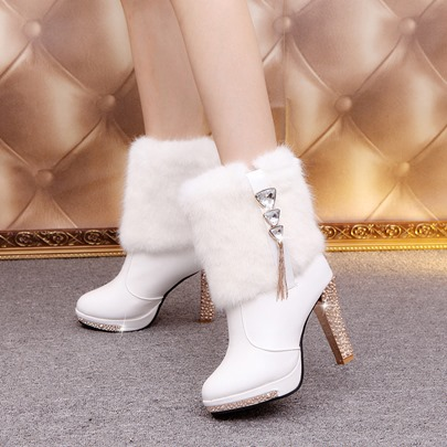 Faux-Wool Fringe Rhinestone Chunky Heel Boots for Women