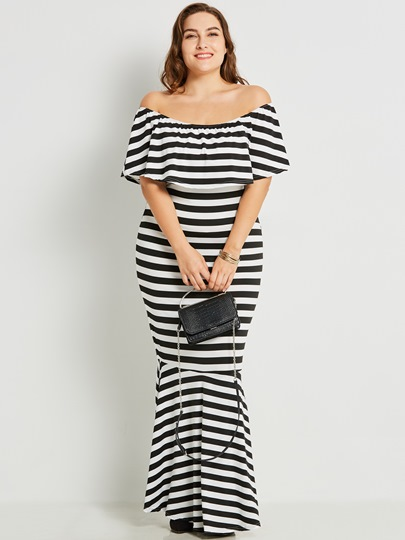 Plus Size Slash Neck Striped Women's Maxi Dress
