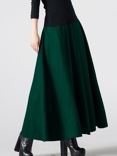 Plain Ankle-Length Expansion Patchwork Women's Skirt