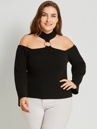 Sexy Plus Size Off-Shoulder Women's Sweater